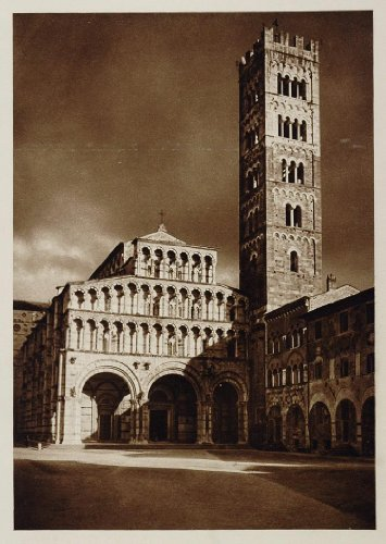 1925 Lucca Cathedral Duomo Dom Cathedrale Italy Church - Original Photogravure