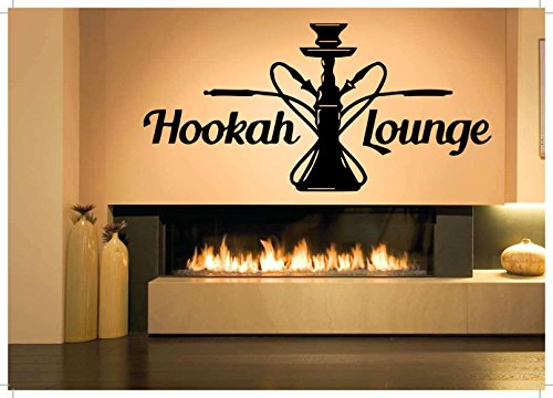 Vinyl Sticker Hookah Lounge Logo Sign Smoke Room Bar Vape Mural Decal Wall Art Decor SA825