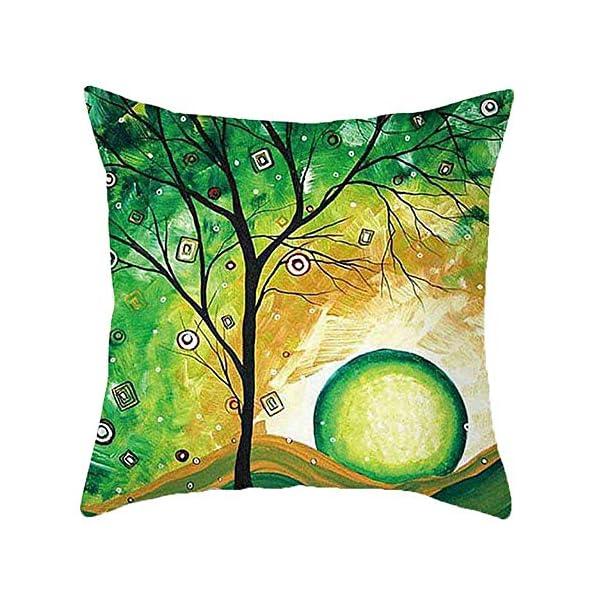 51668vSPj2L Freeas Kissenbezug 45 x 45 cm, Baumwolle Leinen Tropische Pflanzen Kissenhülle Taille Wurf Kopfkissenbezug für Zuhause…