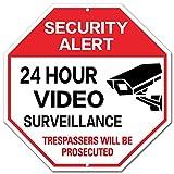 """24 HOUR VIDEO SURVEILLANCE - Hexagon Aluminum Sign - 12"""" x 12"""" - Red"""