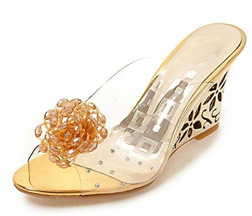 Sfnld Women's Vogue Floral Peep Toe Slide On Hollow High Wedge Heels Slippers Sandals Gold 10 B(M) (Vogue High Heel Sandals)