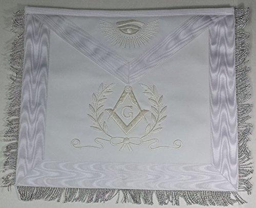 手刺繍Masonic Regalia完全にホワイトマスターMasonエプロン   B01M72IP07