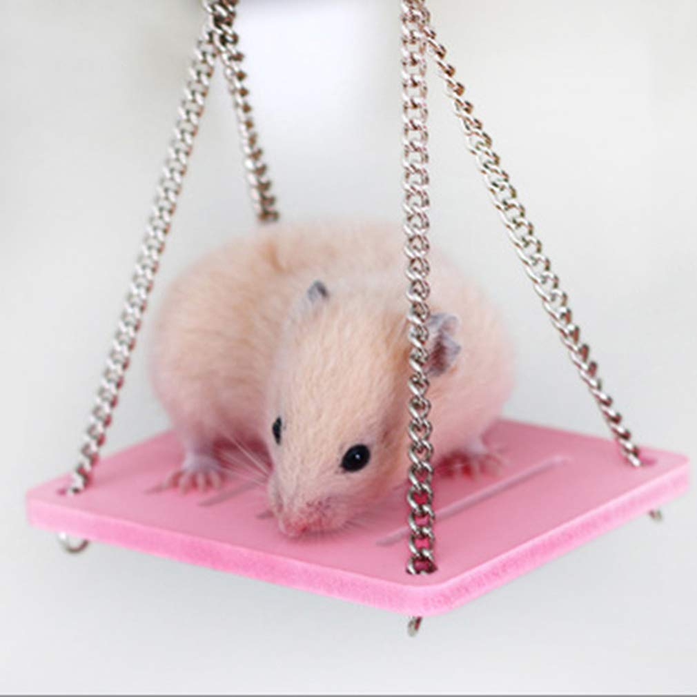 L/_shop Wooden Swing Hamster Toy Hammock Swing Small Pet Toys Colorful Dwarf Hamster Mouse Platform Toys Climber Shake Ship Toys Animal Cage Toy,As it is description,blue