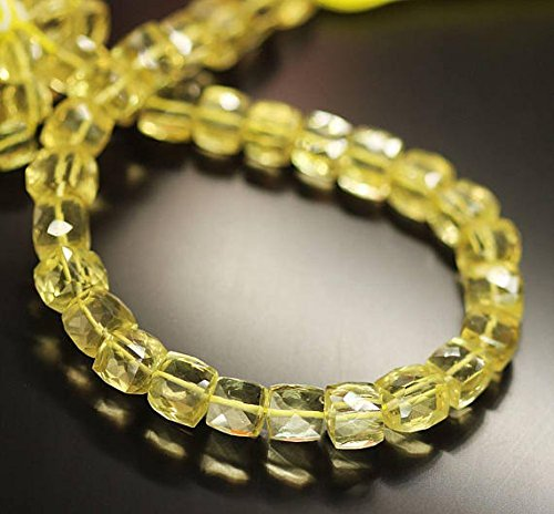 Yellow Lemon Quartz Faceted Square Box Gemstone Loose Craft Beads Strand 10' 7mm 8mm