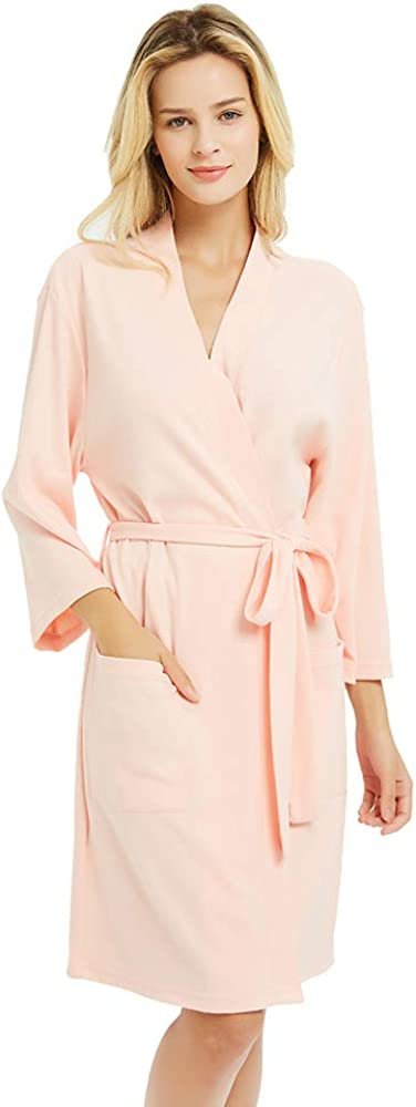 U2SKIIN Womens Cotton Robes, Lightweight Robes for Women with 3/4 Sleeves Knit Bathrobe Soft Sleepwear Ladies Loungewear