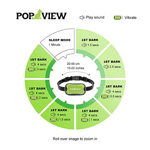 POP VIEW Dog Anti Bark Collar, Small, Medium, Large Dogs, 7 Adjustable Levels with Sound and Vibration, No Shock, Harmless & Humane, Stops Dogs Barking by POP VIEW (Image #4)