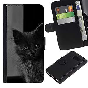 All Phone Most Case / Oferta Especial Cáscara Funda de cuero Monedero Cubierta de proteccion Caso / Wallet Case for Samsung Galaxy S6 // Cute Baby Kitten Grey Cat Furry Beast