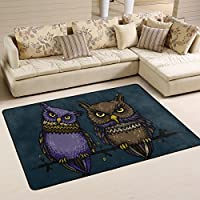 SAVSV 3 x 2 Area Rug Carpet Doormat Lightweight Printed Carpet Contemporary Purple And Brown Owls Fade Resistant For Living Room Bedroom