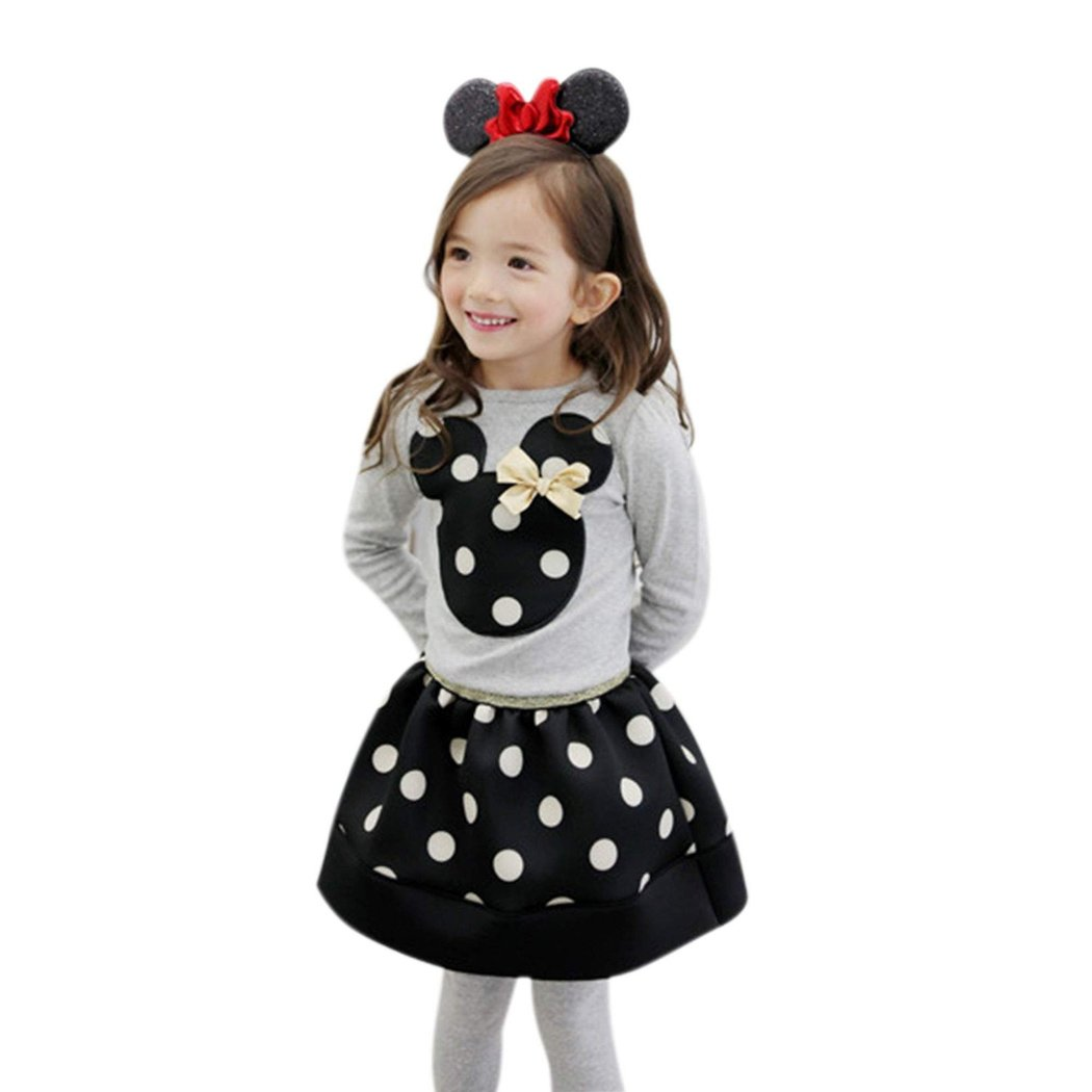 Girl O-Neck Long Sleeve Animal Applique T-Shirt Polka Dot Bubble Skirt Outfits and Sets