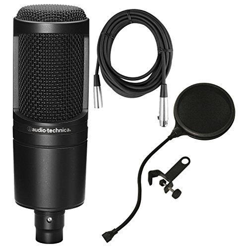 Audio Studio Condenser At2020 Technica (Audio-Technica AT2020 Cardioid Condenser Studio Microphone w/Pop Filter and Mic Cable)