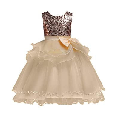 ღ UOMOGO Bambina Vestito da Ragazza Festa in Pizzo per Bambini Abiti da  Sposa  Amazon.it  Abbigliamento fe7c36ec587