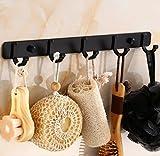 LaaLaa Hangers Hooks,Retro five hooks hotel bathroom storage hooks,black color space aluminum hooks, towel hooks hooks bathroom accessories,Product Size:36cm8.8cm 4.5cm
