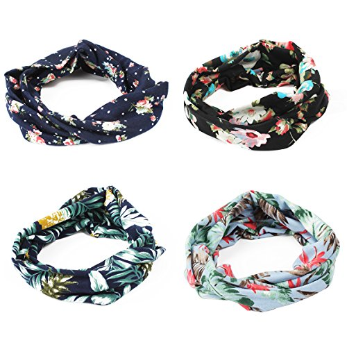 GES 4 Packs Headbands Floral Print Cotton Headbands Vintage Elastic Printed Head Wrap Stretchy Moisture Hairband Twisted Cute Hair Accessories for YOGA (A)