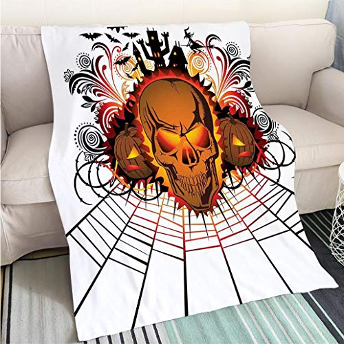 BEICICI Custom Antibacterial and wear Resistant Blanket Halloween Decorations Angry Skull Face on Bonfire Spirits of Other World Concept Bats Spider Web Multi Sofa Bed or Bed 3D Printing Cool Quilt -