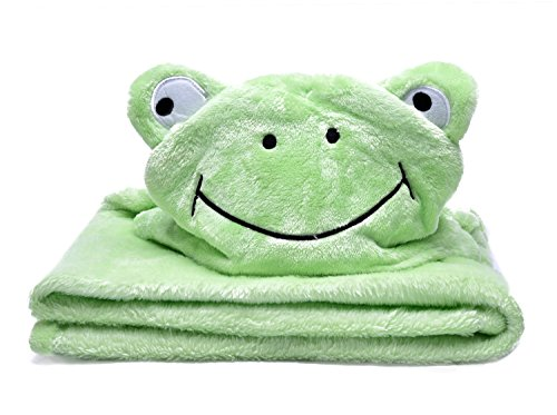 LAGHCAT Kids Plush Hooded Blanket Soft Christmas Blankets for Baby - Frog, 39x39 Inch ()