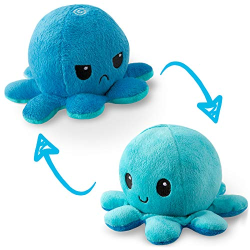 TeeTurtle | The Original Reversible Octopus Plushie | Patented Design | Light Blue and Dark Blue | Show your mood without saying a word!