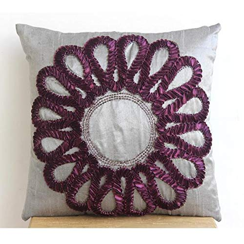 The HomeCentric Designer Grey Accent Pillows, Ribbon Flower Medallion Pillows Cover, 16