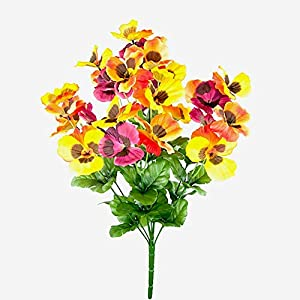 MARJON FlowersFloral Silk 50cm Large Artificial Winter Pansy Bush - Blue Yellow and Purple Fowers 27