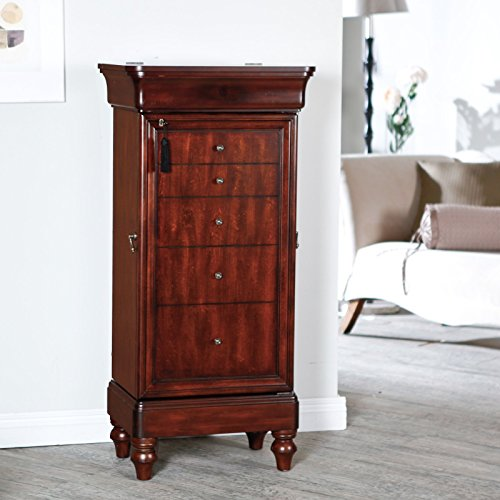 Stylish Antique Locking Jewelry Armoire With А Solid Wood Veneers And MDF Wood Construction, Resists Warping, Anti-Tarnish Lining Inside, Gorgeous Walnut Finish With Lovely Gold Knobs