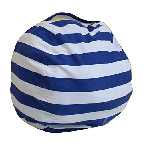 Ehonestbuy Kids' Bean Bag Chair Stuffed Animal Storage, Stripe Cotton Canvas Toy Organizer for Kids Bedroom, Storage Solution for Plush Toys, Towels & Clothes (Small-18 Inches Diameter, Blue)
