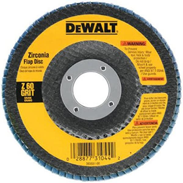 DEWALT DW8308 4-1//2-Inches x 7//8-Inches 60 Grit Zirconia Angle Grinder Flap Disc