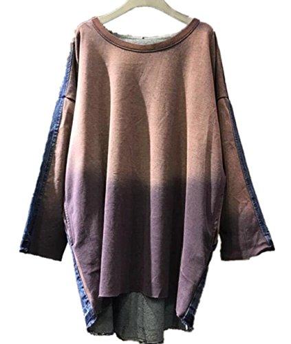 YESNO JDR Women Casual Loose Sweatshirts Stitched Jeans Jacket Gradient Color Fringed Hem Pocket (Jdr Type)
