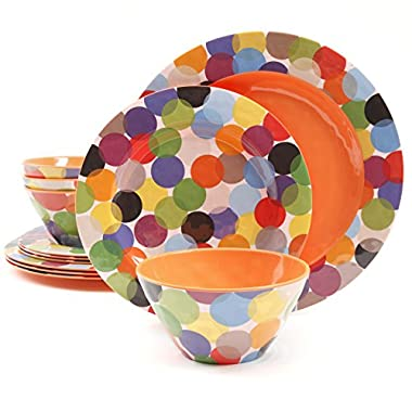 Gibson Studio Line by Laurie Gates 12 Piece Party Circles Melamine Dinnerware (Set of 4), Multicolor