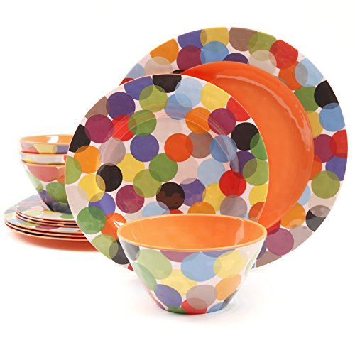 Gibson Studio 12 Piece Party Circles Melamine Dinnerware, Rainbow (Melamine Colorful Melamine Dinnerware)
