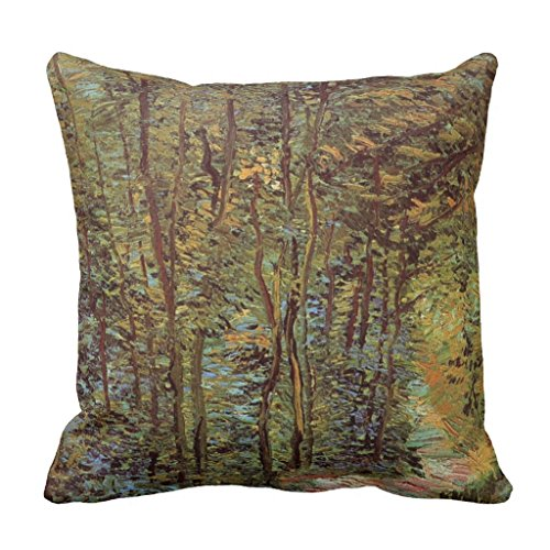 Zazzle Van Gogh Path in the Woods, Vintage Fine Art Throw Pillow 16'' x 16'' by Zazzle