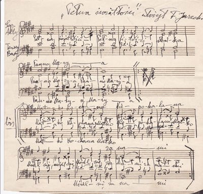 AN AUTOGRAPH MUSICAL MANUSCRIPT, TITLED IN POLISH, PENNED & SIGNED BY THE POLISH-AMERICAN COMPOSER TADEUSZ JARECKI.