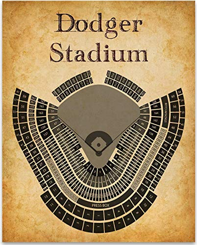 (LA Dodgers Baseball Stadium Seating Chart Art Print - 11x14 Unframed Art Print - Great Sports Bar Decor and Gift Under $15 for Baseball Fans)