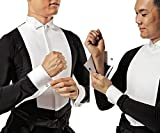 Taka Dance Ballroom Shirt MS280 with Collar Attached (44/17.5, Black/White)