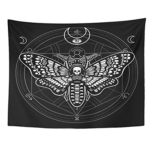 SPXUBZ Wall Tapestry Moth Dead Head Mystical Circle Esoteric Symbol Sacred Geometry Sign of The Moon Wall Hanging Decoration Soft Fabric Tapestry Perfect Print for House Rooms