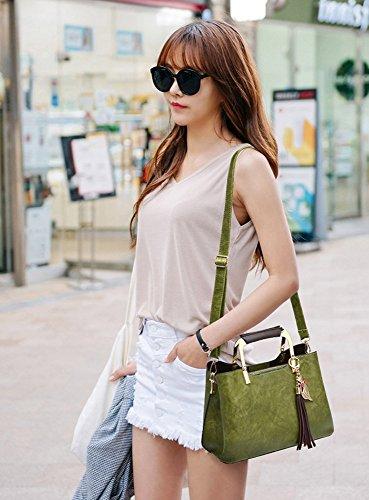 CLOTHES- Damen-Beutel Neue Art- und Weisekoreanische Version Frauen-Schulter-Kurier-Paket-wilde echtes Leder-Handtaschen-Dame-Beutel ( Farbe : Schwarz ) Army Green