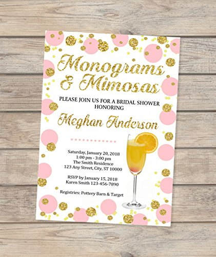 monograms and mimosas bridal shower invitation pink and gold mint and gold blue