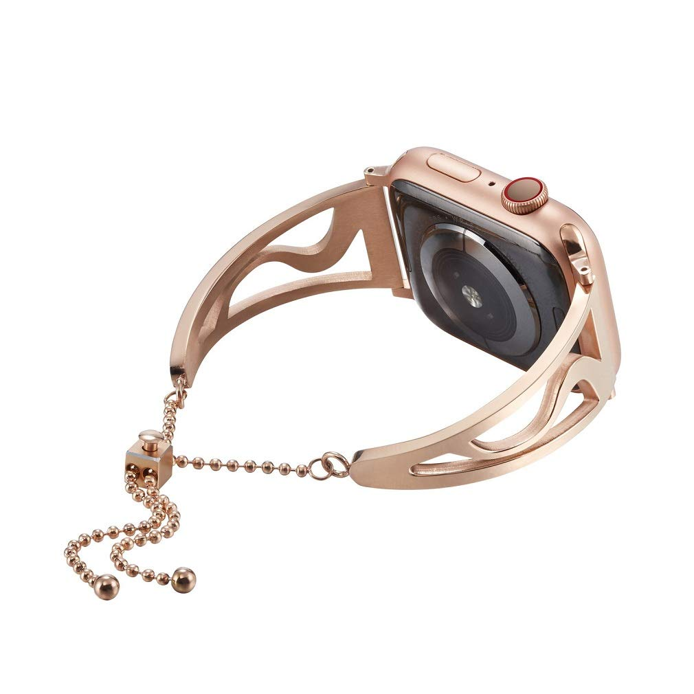 Juzzhou Watch Band For Apple iwatch Series 1 2 3 4 Edition Sport Replacement Wriststrap Watchband Stainless Steel Bracelet Strap Wrist Wristband With Adjustable Buckle Women Girl Rose Gold 38mm 40mm by Juzzhou
