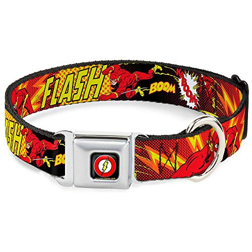 """Buckle Down Seatbelt Buckle Dog Collar - The Flash Boom-Kaboom! - 1"""" Wide - Fits 15-26"""" Neck - Large from Buckle Down"""