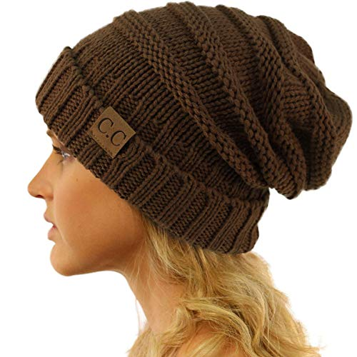 Winter Trendy Warm Oversized Chunky Baggy Stretchy Slouchy Skully Beanie Hat Brown