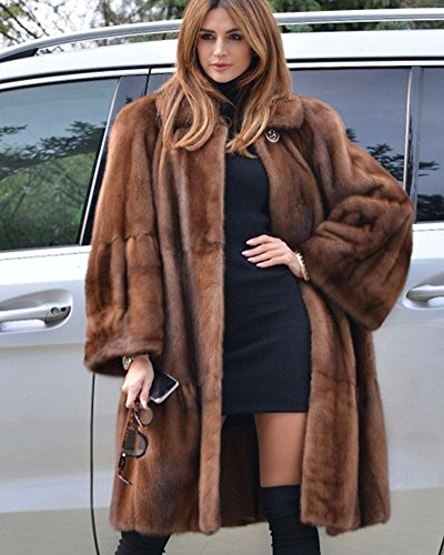 Luxury Faux Fur Parka Coat Long Lapel Trech Jacket Winter ...