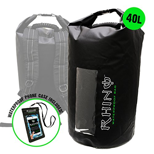 Rhino USA IPX8 Certified 40L Waterproof Drybag for Kayaking, Boating, Outdoor Recreation