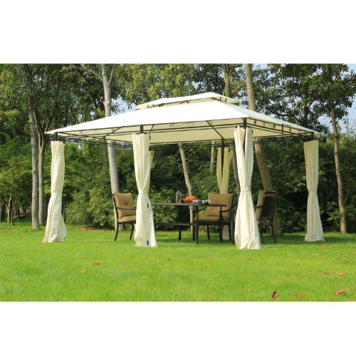 Outsunny 13' x 10' Outdoor 2-Tier Steel Frame Gazebo with Curtains – Black/Cream