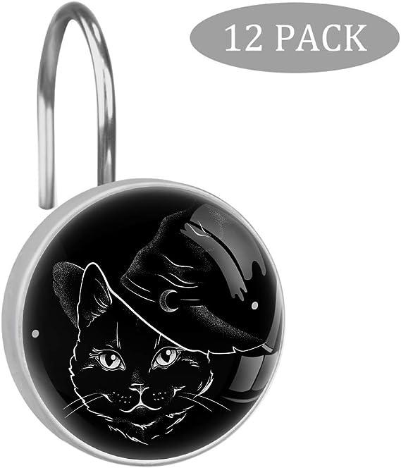 Ganchos para cortina de ducha, diseño de gato negro con