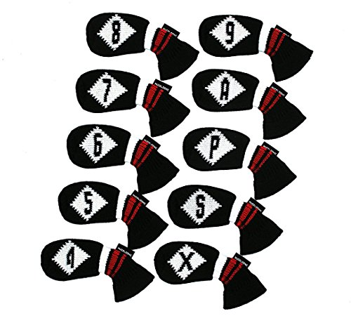 HUGELOONG Knit Golf Iron Head Covers Black/White-Set of 10