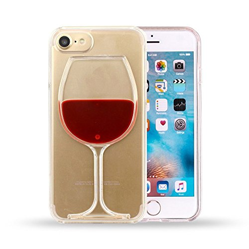 Neatday Iphone 7 Case,Cute and lovely Red Wine Glass 3d Creative Design Clear Hard Back Case Cover For Iphone 7 (Red wine case for iphone 7)