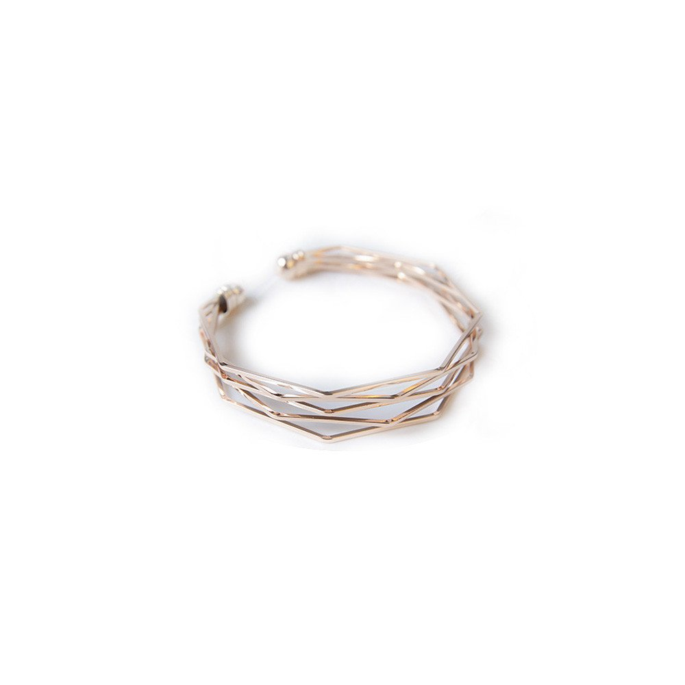 Buolo-Jewelry Multi-Layer Cross Wire Bangle Hollow Out Retro Ethnic Puck Adjustable Open Charm Bracelet for Love Anniversary Brithday Valentine's Day Women's Day (Rose Gold)