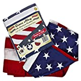 Grace Alley American Flag: 3x5 FT US Flag - 100% Made in USA. Embroidered Stars, Sewn Stripes and Brass Grommets. Fade Resistant, Heavy Duty, Long Lasting Nylon for Outdoor Durability.