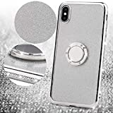 Amocase Glitter Case with 2 in 1 Stylus for Samsung Galaxy Note 9,Luxury Girly 3D Diamond Bling Crystal Soft Silicone Rubber Clear Cover Case with 360 Ring Stand Holder - Silver