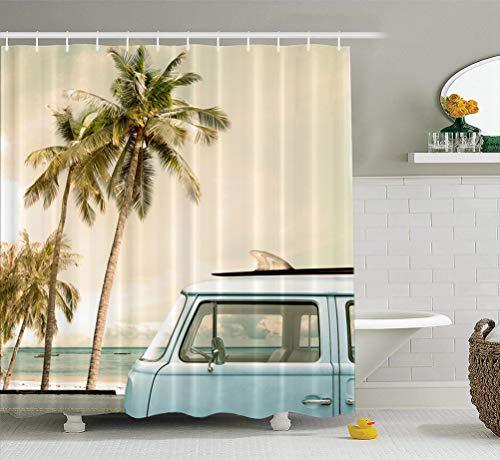 (Summor Fabric Shower Curtain Vintage Car Tropical Beach Seaside with Surfboard Surf Van 72x72 inches Waterproof Bathroom Shower Curtains Set of Hooks)