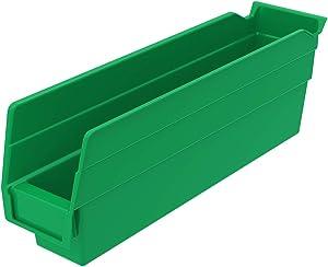 Akro-Mils 30110 Plastic Nesting Shelf Bin Box, (12-Inch x 3-Inch x 4-Inch), Green, (24-Pack)