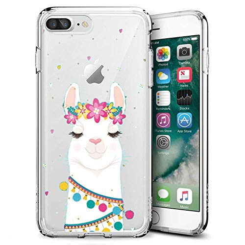 iPhone 7 Plus 8 Plus Case,Slim Fit Shell Soft Thin Mobile Phone Clear Case with Non Slip Matte Surface Protective Clear case for iPhone 7 Plus 8 Plus-Flower Alpaca